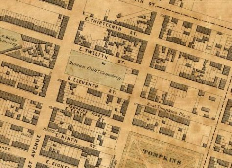 The 11th Street Catholic Cemetery in 1851.