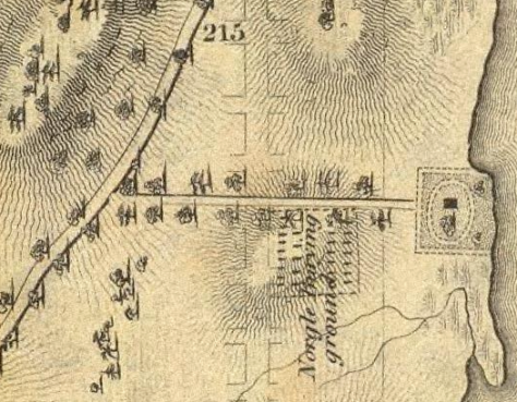 The Nagel Cemetery in 1836, on a lane from Broadway.