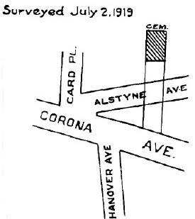 Location of the Burroughs burial ground in 1919 (Queens Topographical Bureau)