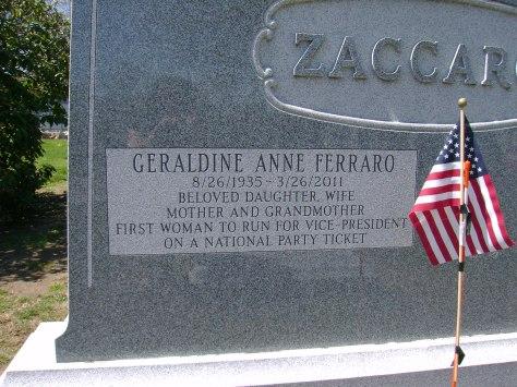 Geraldine Ferraro's gravesite at St. John's Cemetery.